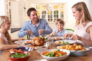 family eating dinner during celebration