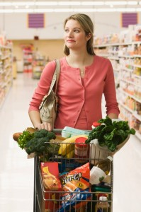 Women grocery shopping small