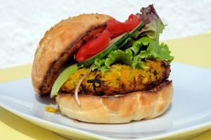 Vegetarian burger with salad on a bun  Arena Photo UK