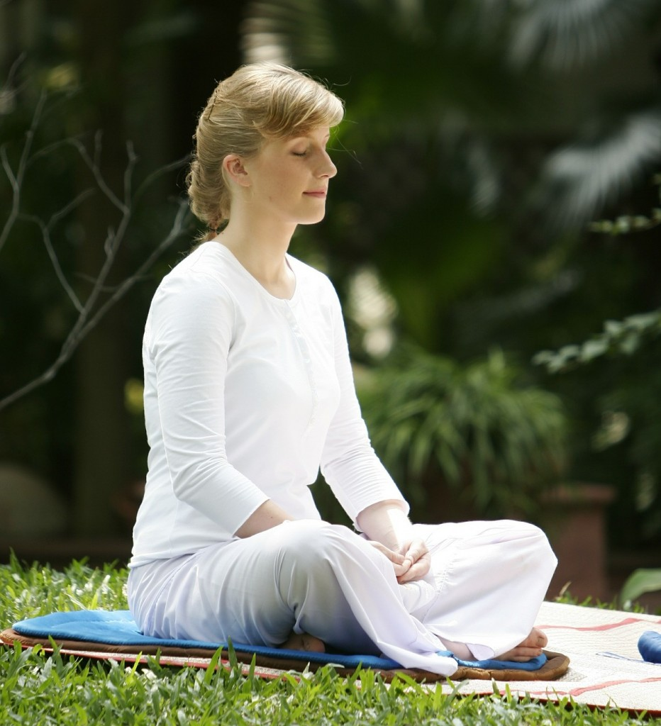 blonde women meditating